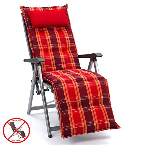 Auflagen mit Kopfpolster für Relax Liegestuhl Miami 90509-300 in rot (ohne Relax)