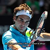 Roger Federer - Tennis 1 Personalised Gift Print Mouse Mat Autograph Computer Rest Mouse Mat Compatible with Laser and Optical Mice (No Personalised Message)