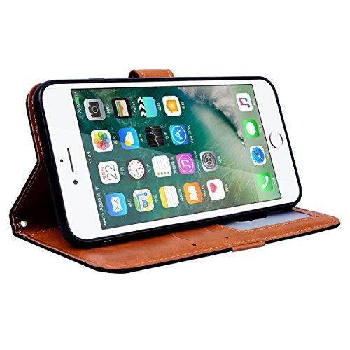 SMART LEGEND iPhone 7 Plus Hülle Ledertasche Schutzhülle Retro Lederhülle Scratch Ledercase Schale Umschlag Stil Wallet Flip Case Cover mit Weich Silikon Handyhülle für iPhone 7 Plus Tasche Standfunkt Schwarz