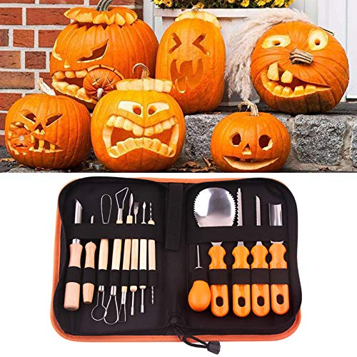 JIAN YA NA Halloween Kürbis zum Schnitzen Werkzeug 13-teilig Profi Edelstahl Kürbis Werkzeug Set