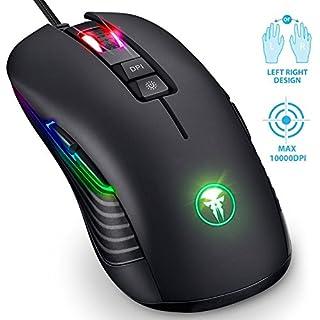 Souris de jeu ambidextre, souris gamer RGB LED pour droitier et gaucher, souris filaire USB optique Fnova Professional, 200 - 10000 ppp, 9 boutons programmables pour PC