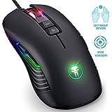 Mouse da gioco ambidestro, mouse da gioco LED RGB per destrimano, mouse ottico con cavo ottico professionale Fnova, impostazione da 200 a 10000 DPI, 9 pulsanti programmabili per PC Home Office