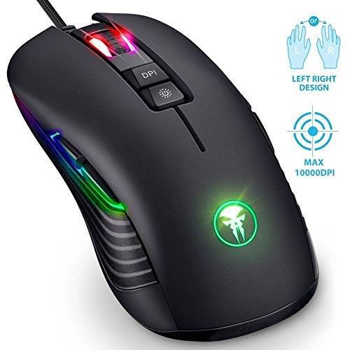 Beidhändige Gaming Maus, RGB LED Gamer Mouse für Rechts- & Linkshänder, Fnova Professionelle Optische USB Wired Mouse, 200 - 10000 DPI Einstellung, 9 Programmierbaren Tasten für PC Home Office