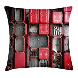 BUZRL Industrial Decor Throw Pillow Cushion Cover, Fuse Cabinet Close up Industrial Type Junction Cables Box Electricity, Decorative Square Accent Pillow Case, 18 X 18 inches, Red White Grey
