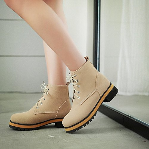 &ZHOU Bottes d'automne et d'hiver Bottes courtes pour femmes adultes Martin bottes bottes Chevalier A4-5 beige
