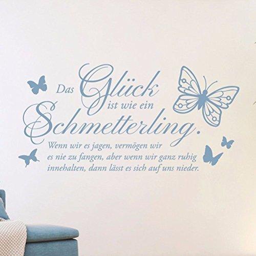 tjapalo® li-pkm177 Wandtattoo Wohnzimmer modern Wandsticker Flur Sprüche Wandtattoo das Glück ist wie ein Schmetterling
