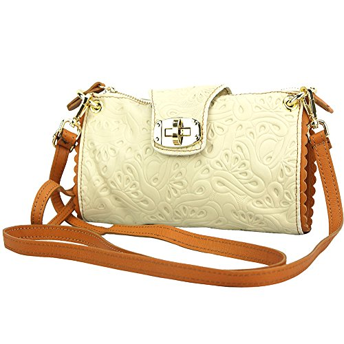 "BORSA A TRACOLLA ""BE EXCLUSIVE"" IN PELLE MORBIDA STAMPATA 8611S Beige-cuoio"
