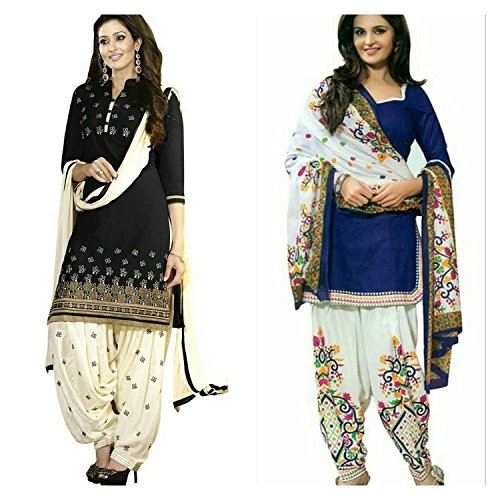 Shiroya Brothers Women\'s Design Designer Party Wear Low Price sale Offer black&blue Cotton Unstitched Patiala Salwar Kameez Suit Dress Material With Dupatta (Combo pack of 2)(Shiroya_516_Black)(Shiro