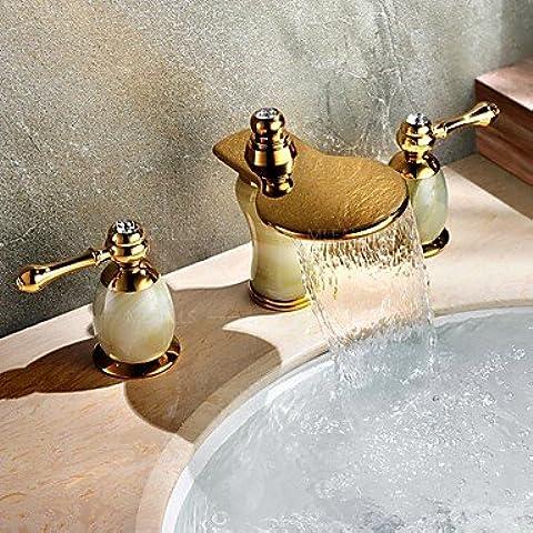 BSFCJ Grifo,Oro de lujo, cascada de jade natural y cobre baño fregadero recipiente amplio/resankong/fría doble manija de la llave