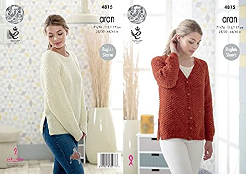 King Cole Ladies Aran Knitting Pattern Womens Raglan Sleeve Split Hem Cardigan & Sweater (4815)