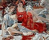 GAGALAM 1000 Pezzi di Puzzle per Adulti in Legno Violino E Due Ragazze Sexy Pittura Ad Olio d'Arte.Logo Lettera sul Retro, Griglia Divisoria in Legno, Puzzle Migliori
