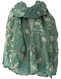 Green Floral Scarf Ladies Cream Embroidered Flowers Pashmina Sage Flower Wrap Shawl Wedding Prom