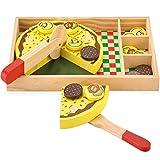 KIDS TOYLAND Pizza in Legno Play Food, Set per Bambini Cucina Birthday Party Toy Game con condimenti (20 Pezzi)