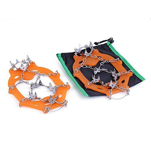 OUTAD Ramponi Arrampicata Crampons Scarpe Antiscivolo Catena Outdoor Sci per Ghiaccio Neve (Pack of 2)- Arancione