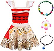 Jurebecia Vestido Moana para niños Conjuntos de Aventura Conjunto para niñas Vestidos de Princesa y Diademas A