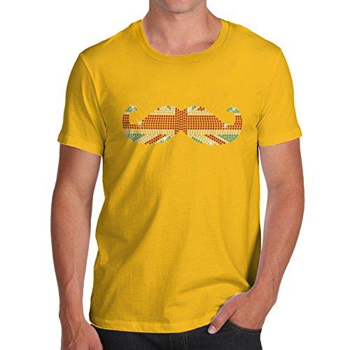 TWISTED ENVY Herren Union Jack Schnurrbart Strass mit Baumwolle T-Shirt Gr. X-Large, Gelb (T-shirt Jack Art-union Flag)