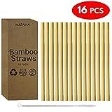(Set von 16) 15Pcs Wiederverwendbare Bambus Strohhalme +1 Reinigungsbürste - 100% natürliche Qualität Bambus Trinkhalme - Biologisch Abbaubar, Organisch, Spülmaschinenfest - Gemischte Breiten perfekt für Smoothies & Dickere Getränke, Wasser & Säfte| Aufbewahrungsbox