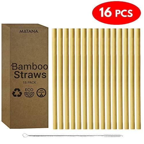 (Juego de 16) 15 Pajitas de Bambú Reutilizables, 20cm +1 Cepillo de Limpieza - 100% Bambú de Calidad Natural - Biodegradable, Orgánico y Lavables - Anchos Mixtos perfectos para Todas las Bebidas! Smoothies y bebidas más gruesas, agua y jugos| Caja de Almacenaje