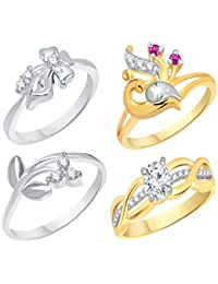 VK Jewels Gold And Rhodium Plated Alloy Ring Combo Set For Women & Girls Made With Cubic Zirconia - COMBO1553G...