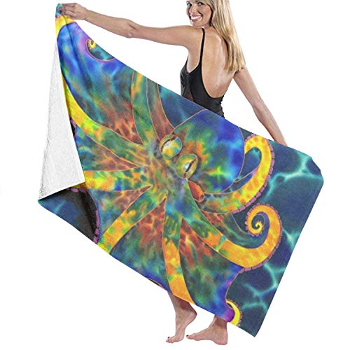 xcvgcxcvasda Serviette de bain, Colorful Rainbow Octopus Premium 100% Polyester Large Beach Towel, Suitable for Hotel, Swimming Pool, Gym, Beach, Natural, Soft, Quick Drying -