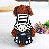FidgetGear Warm Cartoon Bear Stripe Hooded Suspender Jumpsuit For Small Dog Pet Black Striped XL