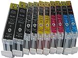 10 Druckerpatronen für CANON PIXMA mp500 mp530 mp600 mp600R mp610 mp800 mp800R mp810 mp830 mp970 mx850 / mp 500 530 600 600R 610 800 800R 810 830 970 / Canon Pixma mx 850 / komp MIT CHIP (Lieferung besteht aus 2 x schwarz dick komp. PGI-5BK 28ml 2 x schwarz dünn CLI-8BK 14ml 2 x blau CLI-8C 14ml 2 x rot CLI-8M 14ml 2 x gelb CLI-8Y 14ml)