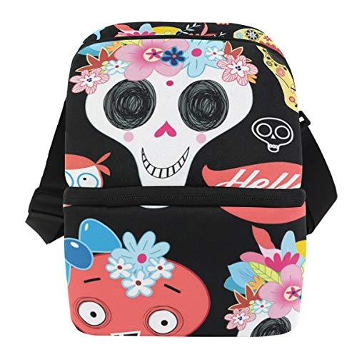 asche Sugar Skull Floral Halloween Lunchbox Reißverschluss isoliert Thermo-wiederverwendbare Eisbeutel Tragetasche mit Schultergurt für Mädchen Jungen Damen Herren ()