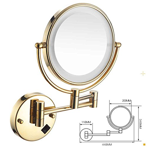 Miroirs de Maquillage LED Or de Salle de Bain Double Face de courtoisie télescopique de Salle de Bain Pliant Mural Le Cadre est serré et ne lâche Pas (Couleur : Or)