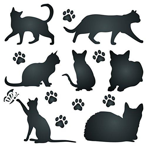 Katze Silhouette Schablone,-wiederverwendbar Tier Freund-Tiere-Vorlage, auf Papier Projekte Scrapbook Bullet Tagebuch Wände Böden Stoff Möbel Glas Holz usw. Größe S