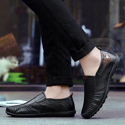 Anguang Homme Chaussures de Conduite PU en Cuir Mode Slip On Mocassins Loafers Chaussure Bateau Grande Taille Noir