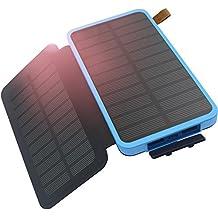 Hiluckey Cargador Solar,Doble Solar Panels 8600mAh Power Bank batería solar Placa Batería Plegable para el iPhone, el ipad de la galaxia de Samsung,Tablet,Otros Dispositivos (a prueba de golpes a prueba de polvo a prueba de agua)-Azul