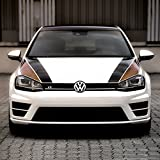 Folientechnik Bayer - 1030 Sportlicher Foliensatz für die Motorhaube, Golf 7 GTI R GTD - Streifen Stripes Aufkleber Zubehör Tuning (grün/schwarz)