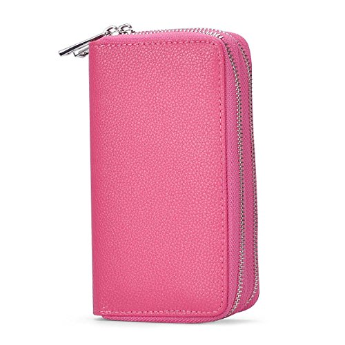 BANGBO PU Leather Double Zipper Clutches Handbag Wallet Purse with Lichi Grain, Card Slot Phone Holder for Cell Phone IPhone 7/7 Plus/SE/6S/6 Plus/5S and Samsung Galaxy S8/8 Plus/S7/S6, Magenta (Leather Holder Womens Card)