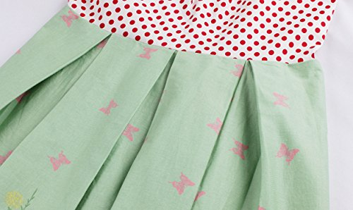 VKStar® Retro Kleider damen 50er 60er Spaghettiträger ärmelloses Abendkleid Stoffdruck Vintage Kleidung Damen Rockabilly Hellgrün