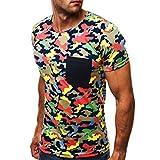 Herren Shirt, Sommer Camouflage Drucken Tee Kurzarm T-Shirt Sweatshirt Tanktop (XXL, Mehrfarbig)