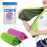 2 Pack Cooling Towel For Instant Cooling,Cooling Scarf Headband Wristband Bandana and Soft