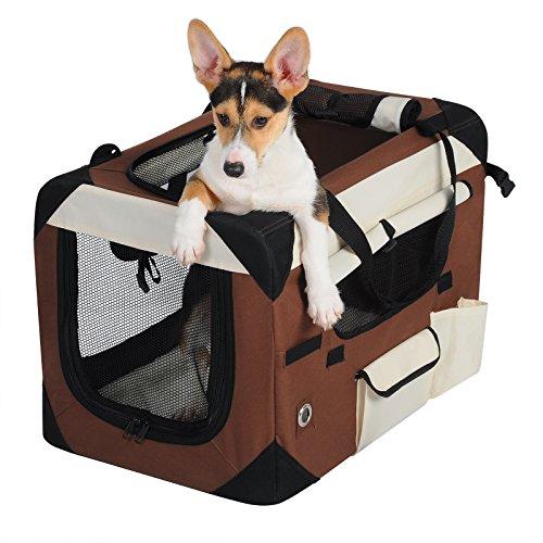 WOLTU HT2059br3 Hundebox Hundetransportbox Auto Transportbox Reisebox Katzenbox Autobox Box mit Hundedecke Braun, L