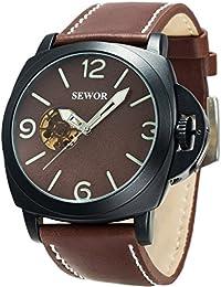 SEWOR reloj para hombre piel negocios automático reloj Full negro Funda Interruptor corona marrón esfera esqueleto