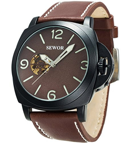 Sewor Mens Business Leather Automatic Mechanical Watch Black Case Calendar Switch Crown Wristwatch Luminous Pointer+Scale (Brown)