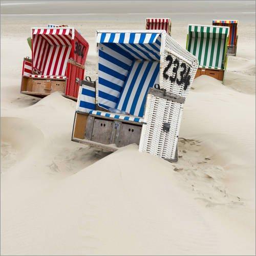 Posterlounge Leinwandbild 120 x 120 cm: Strandkörbe auf Ostfriesland von Roland T. Frank/Mauritius Images - fertiges Wandbild, Bild auf Keilrahmen, Fertigbild auf echter Leinwand, Leinwanddruck