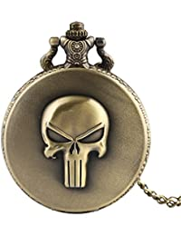 New Arrival Bronze Full Hunter 3D Skull Quartz Fob Pocket Watch With Chain Roman Numerals Design Dial Pendant...
