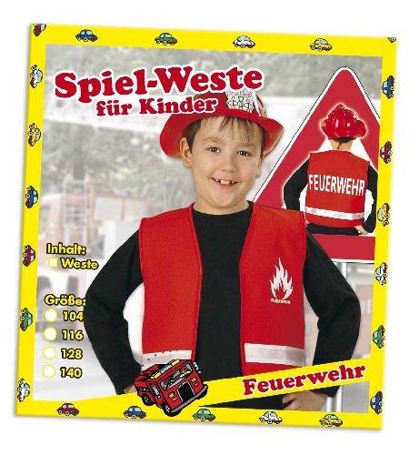 Spielweste Feuerwehr Kinder Feuerwehrweste rot 116 (Jungen Kinder Tanz Kostüme)