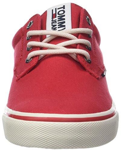 Hilfiger Denim Tommy Jeans Textile Sneaker, Scarpe da Ginnastica Basse Uomo Rosso (Tango Red 611)