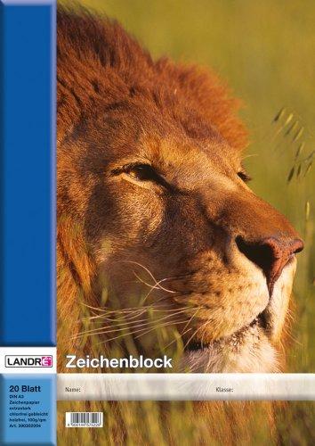 LANDRE 100050431 Zeichenblock 10er Pack A3 20 Blatt 100 g/m² Zeichen-Karton geheftet 4 Tier-Motive sortiert Zeichenpapier