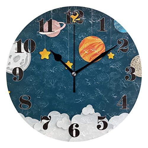Mnsruu Runde Wanduhr Stille Nicht tickende, Solar System Art Clock für Home Schlafzimmer Büro leicht zu lesen - Zeiger System
