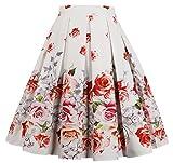 EUDOLAH Damen Kleid Vintage Sommerrock Knielang Faltenrock Stoffdreuck Rot Rose Gr.M