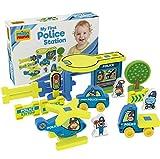 Millaminis My First Police Station - Spielzeug geeignet für Garten, Sandkasten und Wasser - Polizeistation, Hubschrauber, Polizeiauto, LKW und Tiere