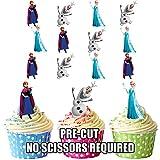 vorgeschnittenen Disney Frozen Elsa & und Anna–Essbare Cupcake Topper/Kuchen Dekorationen (12Stück)