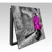 Molduras y cuadros Garcia - Cubrecontador lámina Vespa rosa en Roma - Madera - Color - Roble - Tamaño - 43X33X4