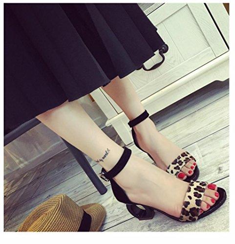 WZG Mme été sandales Mme talons talons personnalité ronde sandales occasionnels Black